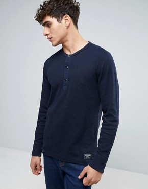 Abercrombie & Fitch Long Sleeve Henley Waffle in Navy 16GBP + 15% OFF