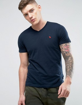 Abercrombie & Fitch V Neck T-Shirt Muscle Slim Fit Moose Logo In Navy 16GBP + 15% OFF