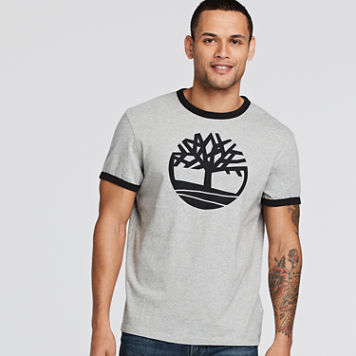 Men's Short Sleeve Tree Logo Ringer T-Shirt USD19.99 + 20% OFF + 10% OFF + 15% OFF