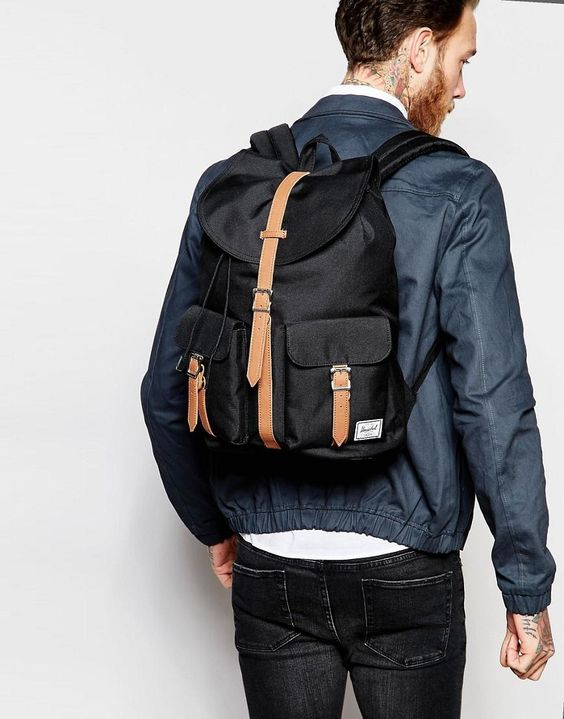 282Herschel, Dawson Backpack - Navy-Tan Synthetic