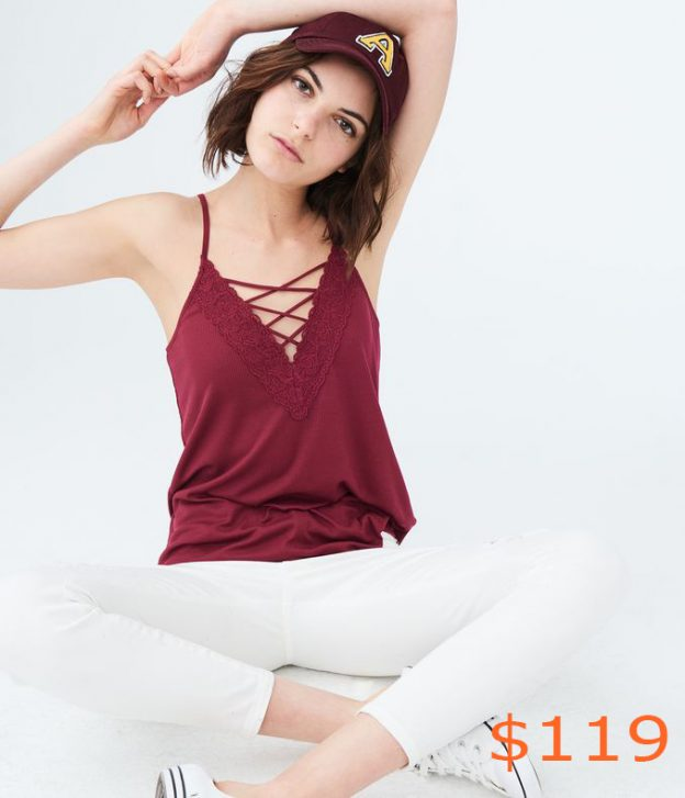 119Solid Lace-Up V-Neck Tank