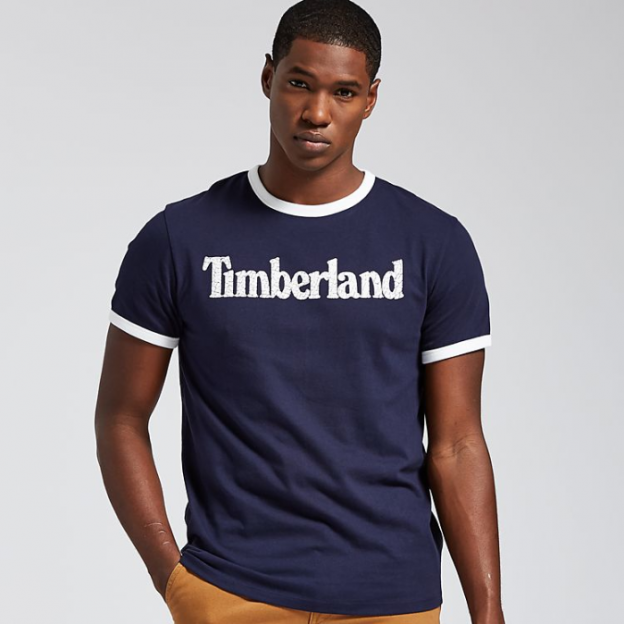 196Men's Crackle Linear Logo Ringer T-Shirt - Timberland US Store