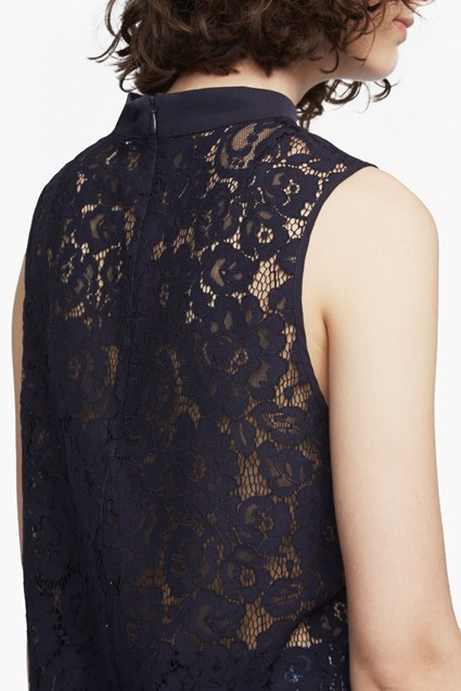 237Classic Crepe And Lace High Neck Top1