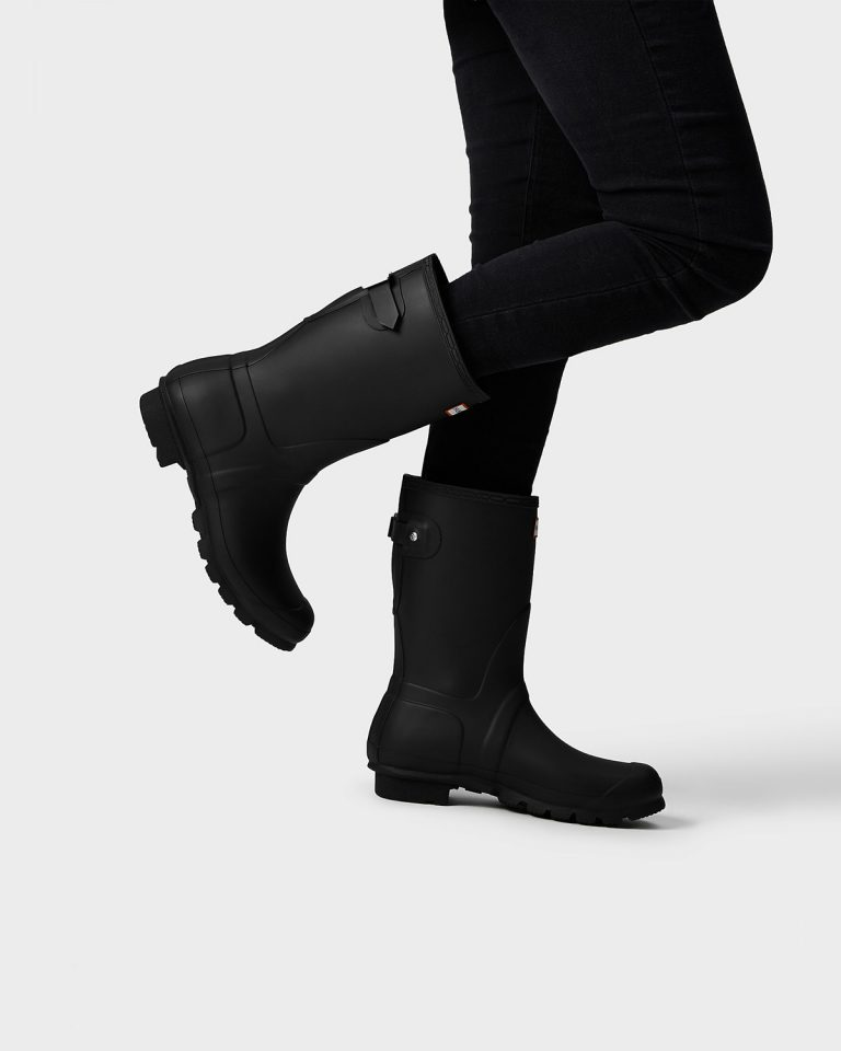 838Womens Black Short Adjustable Wellies