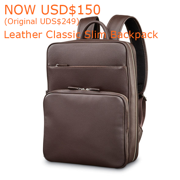 150-249Samsonite Mens Leather Classic Slim Backpack