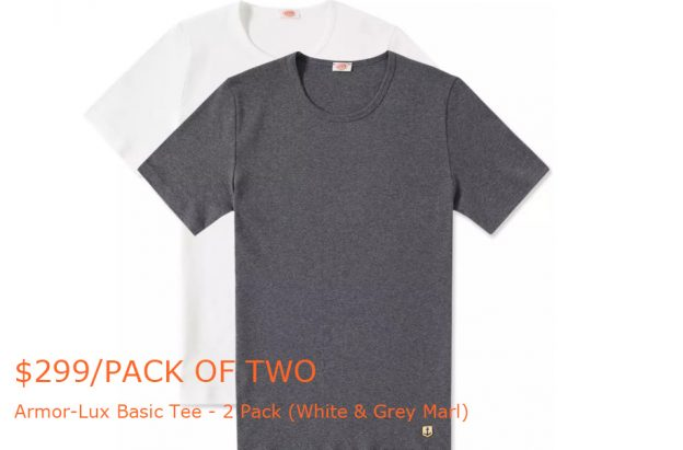 150-299Armor-Lux Basic Tee - 2 Pack (White & Grey Marl) - END-