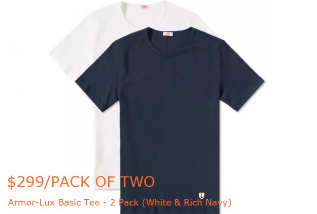 150-299Armor-Lux Basic Tee - 2 Pack (White & Rich Navy) - END-