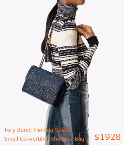 1928Tory Burch Fleming Suede Small Convertible Shoulder Bag