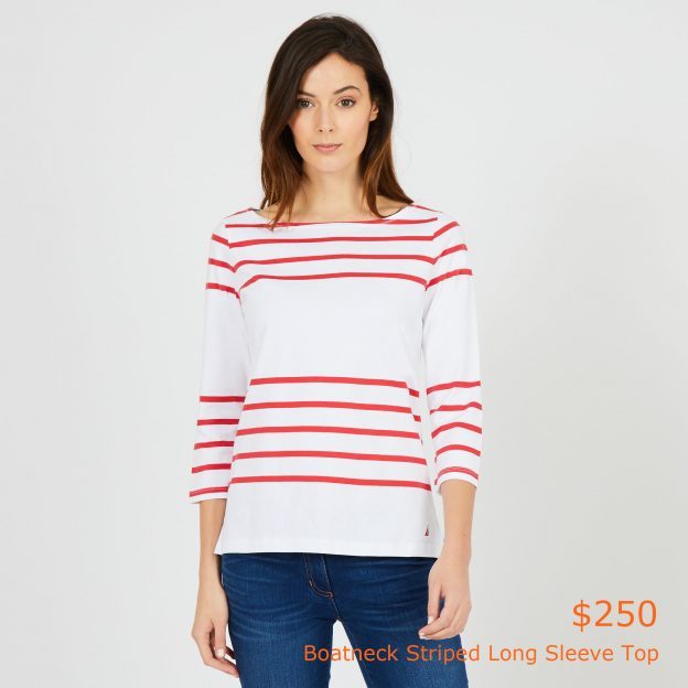 250Boatneck Striped Long Sleeve Top