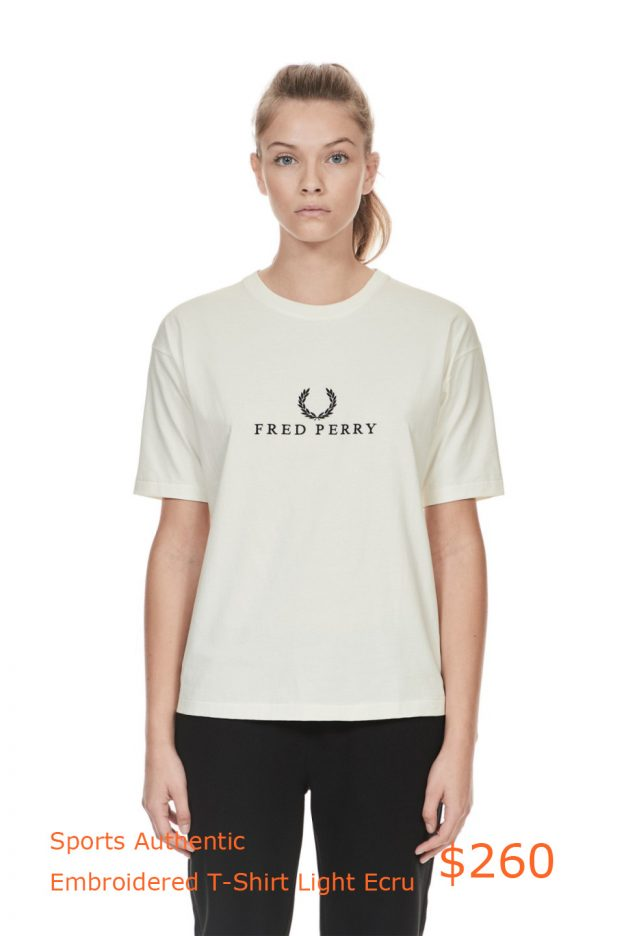 260Fred Perry - Sports Authentic Embroidered T-Shirt Light Ecru