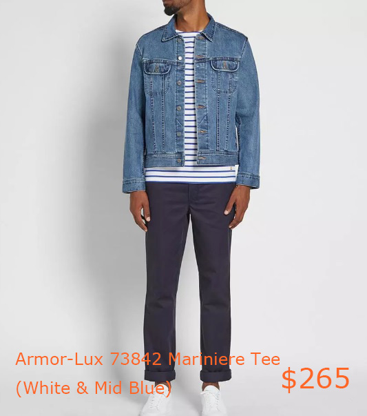 265Armor-Lux 73842 Mariniere Tee (White & Mid Blue) - END-