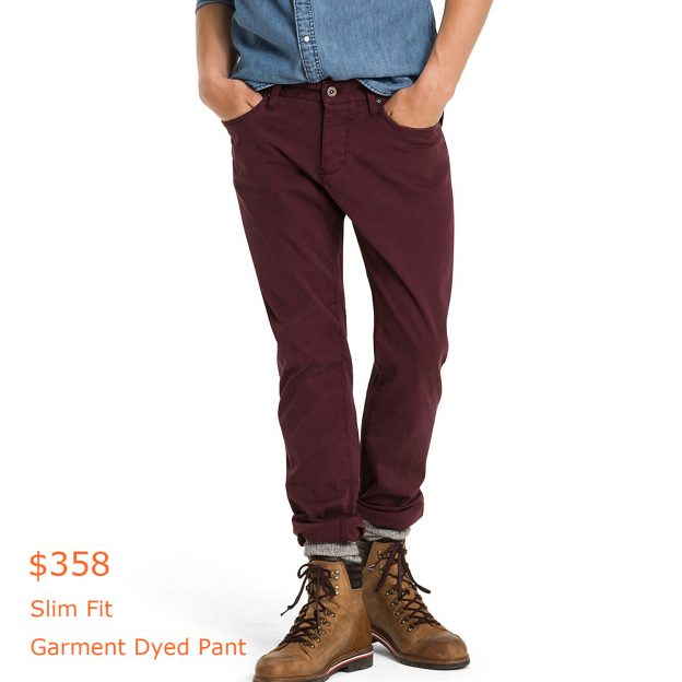 358Slim Fit Garment Dyed Pant
