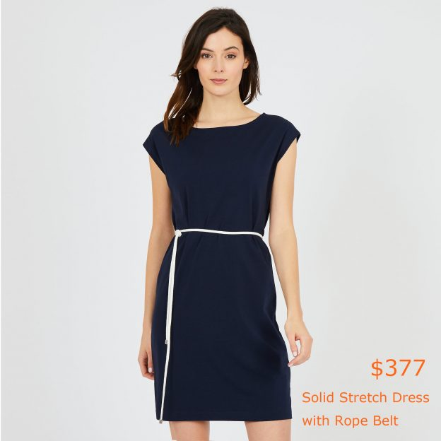 377Solid Stretch Dress with Rope Belt