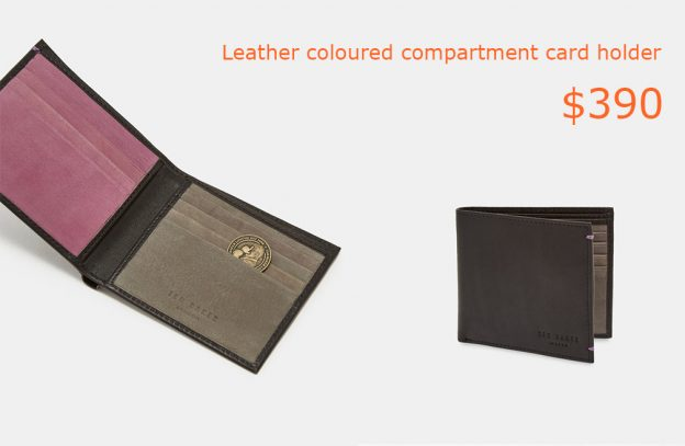 390Leather coloured compartment card holder