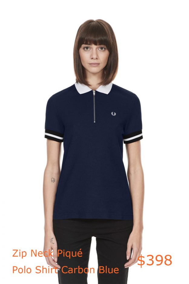 398Fred Perry - Zip Neck Piqué Polo Shirt Carbon Blue