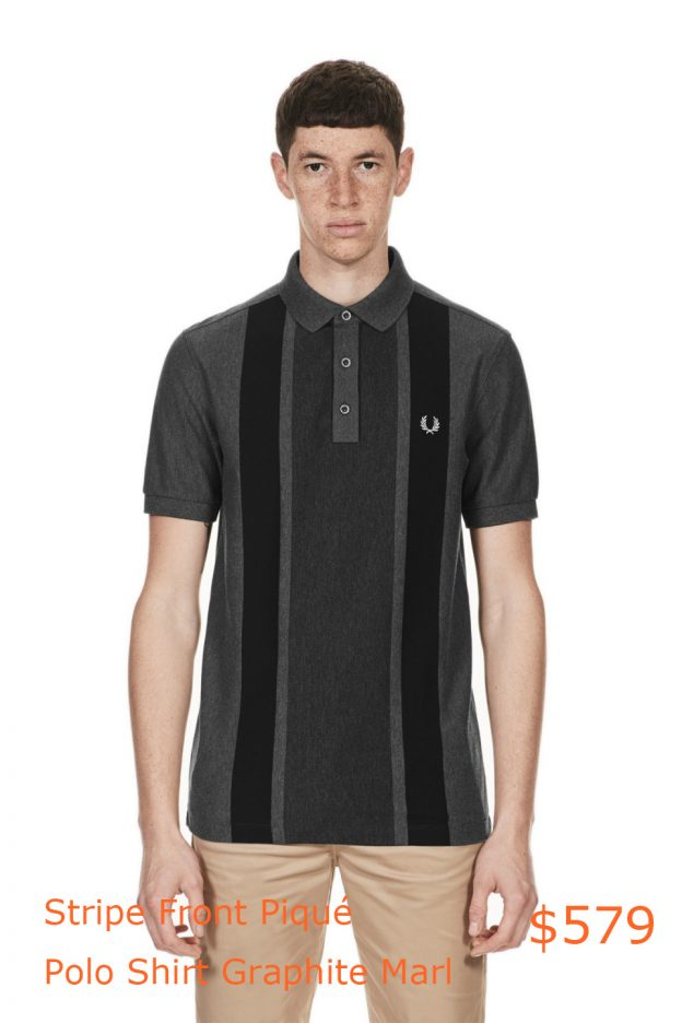 579Fred Perry - Stripe Front Piqué Polo Shirt Graphite Marl