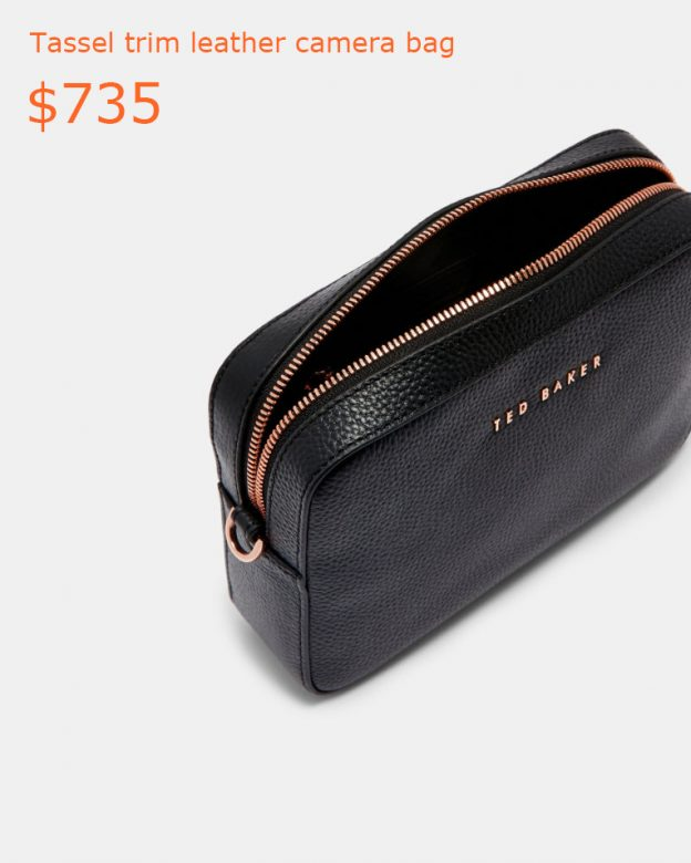 735Tassel trim leather camera bag