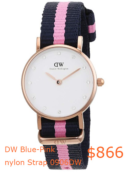 866Daniel Wellington women's quartz Watch with White Dial analogue Display and Blue-Pink nylon Strap 0906DW- Amazon.co