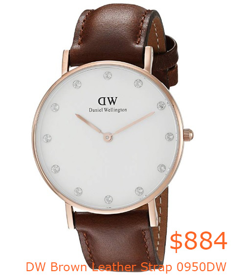 884Daniel Wellington Women's Quartz Watch with White Dial Analogue Display and Brown Leather Strap 0950DW- Amazon.co