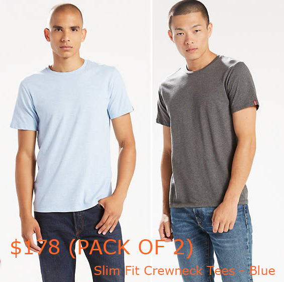 89-178Slim Fit Crewneck Tees (2-pack) - Blue