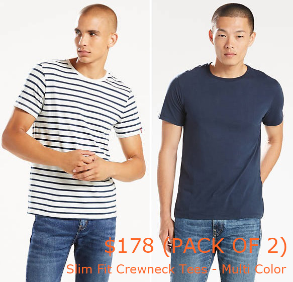 89-178Slim Fit Crewneck Tees (2-pack) - Multi Color