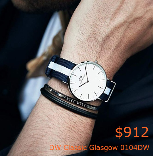 912Daniel Wellington Men's Quartz Watch Classic Glasgow 0104DW with Plastic Strap