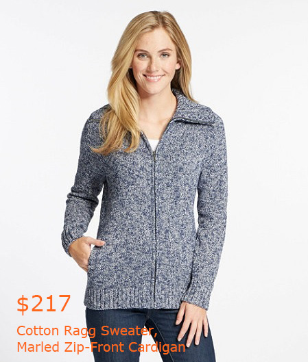 217Cotton Ragg Sweater, Marled Zip-Front Cardigan