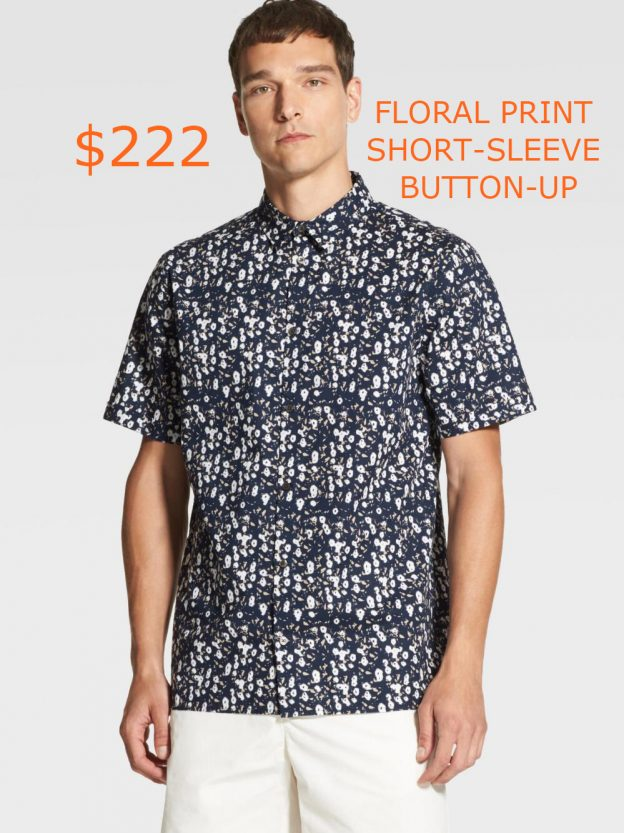 222FLORAL PRINT SHORT-SLEEVE BUTTON-UP