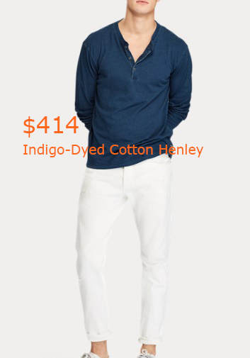 414Indigo-Dyed Cotton Henley