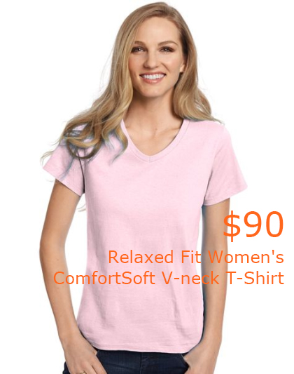 90Hanes Relaxed Fit Women's ComfortSoft V-neck T-Shirt -