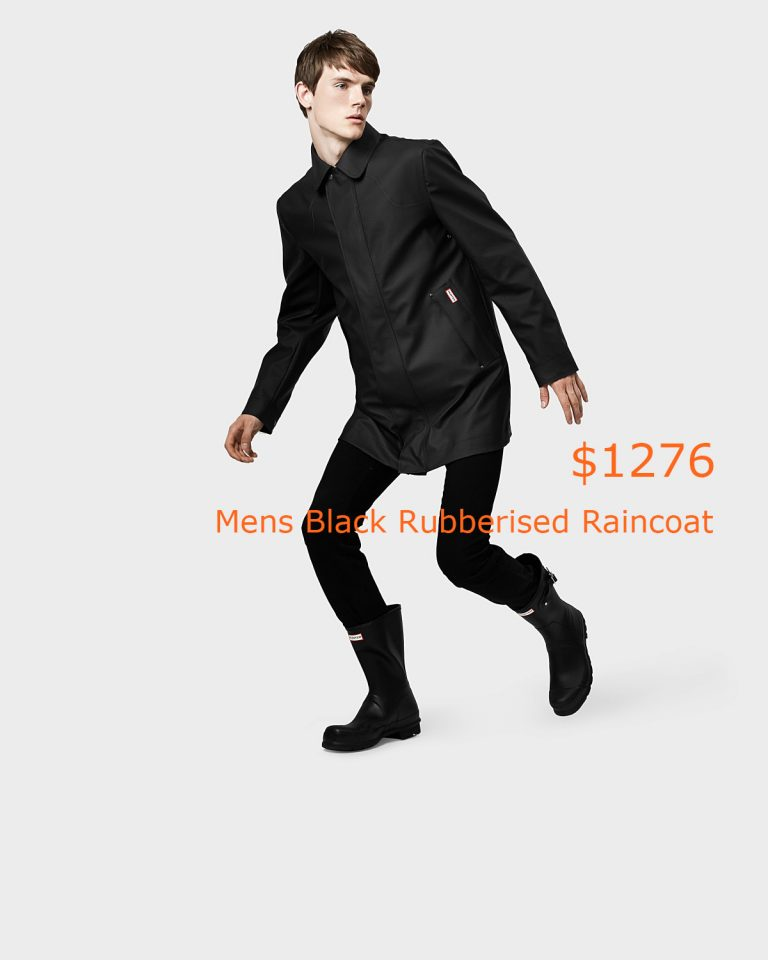 1276Mens Black Rubberised Raincoat