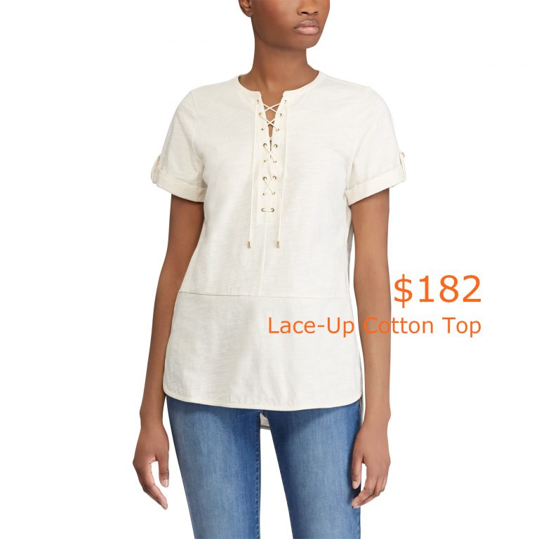 182Lace-Up Cotton Top