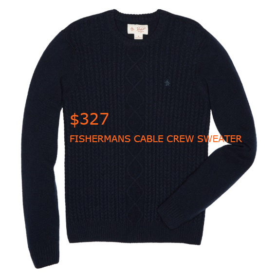 327FISHERMANS CABLE CREW SWEATER