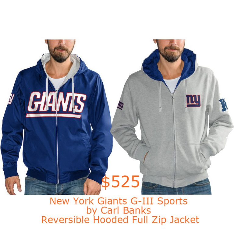 525New York Giants G-III Sports by Carl Banks Reversible Hooded Full Zip Jacket
