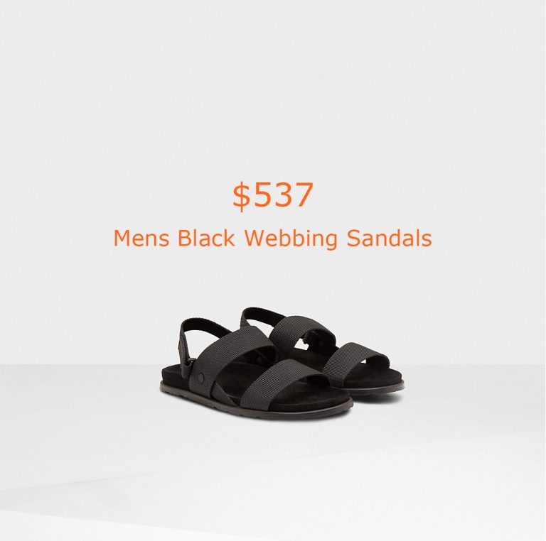 537Mens Black Webbing Sandals