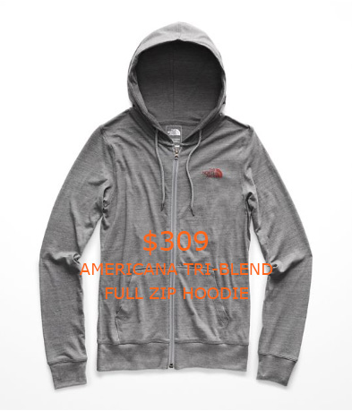309WOMEN'S AMERICANA TRI-BLEND FULL ZIP HOODIE