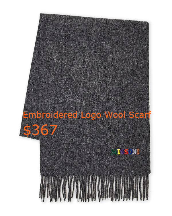 367Embroidered Logo Wool Scarf