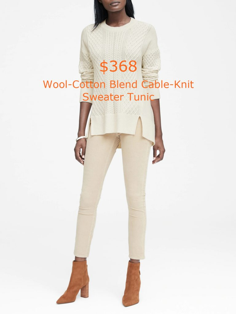 368Wool-Cotton Blend Cable-Knit Sweater Tunic