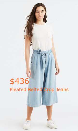 436Pleated Belted Crop Jeans