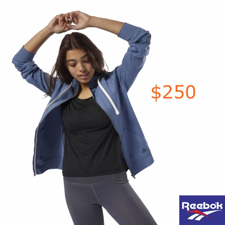 250Reebok Training Essentials Fleece Full-Zip Hoodie - Blue