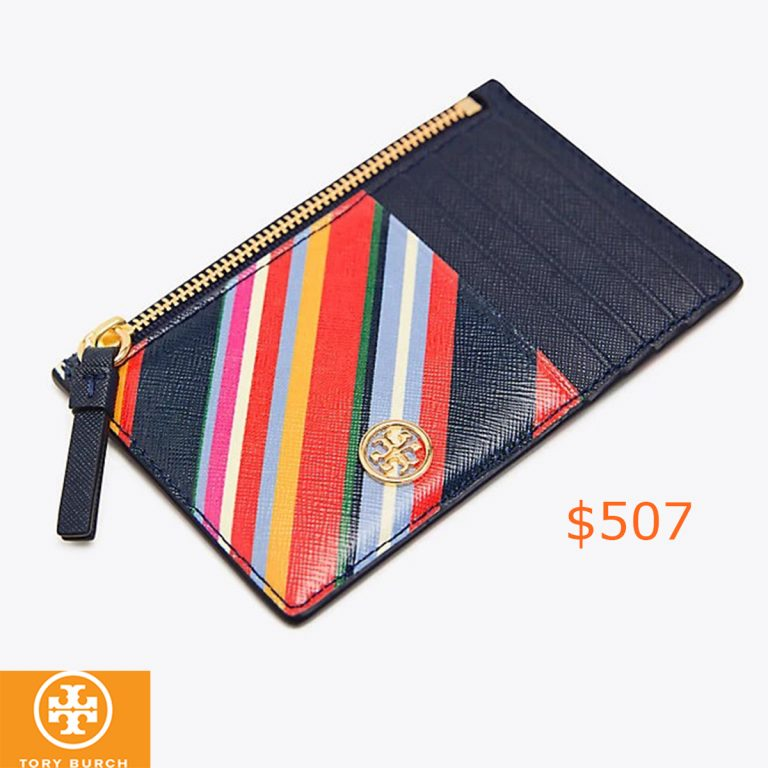 507Tory Burch Robinson Striped Slim Card Case