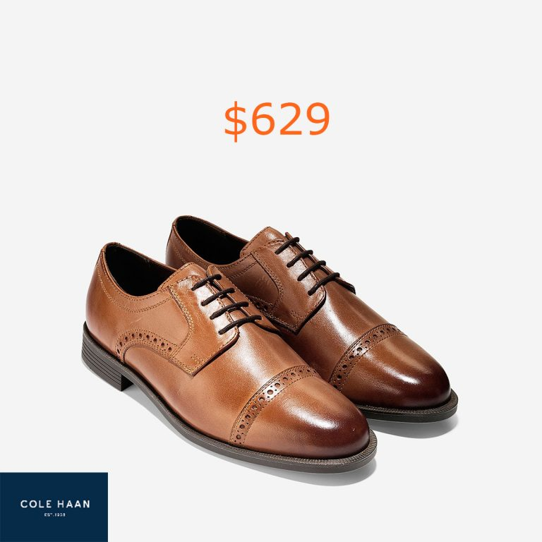629Cole Haan Dustin Cap Toe Brogue Oxford in British Tan