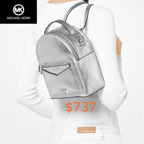 737Jessa Small Metallic Pebbled Leather Convertible Backpack