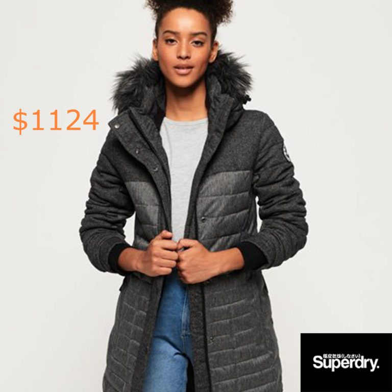1124Superdry Elements Tweed Hooded Parka Jacket