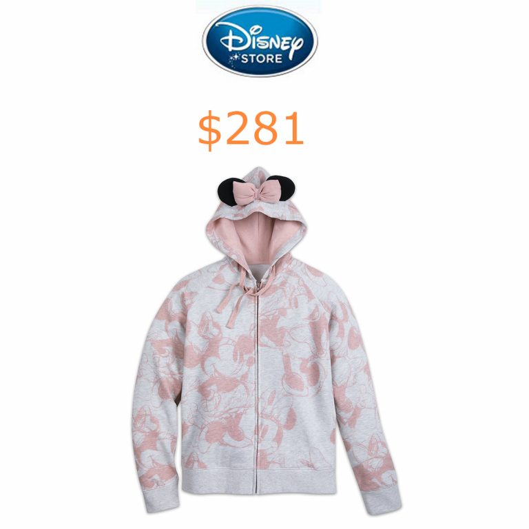 281Minnie Mouse Pink Bow Zip Hoodie for Women