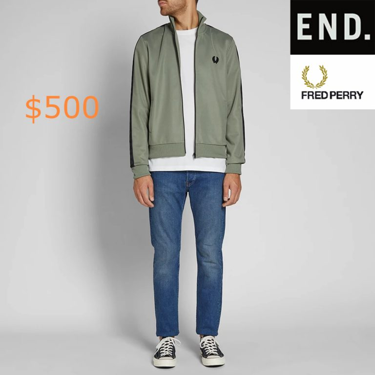 500Fred Perry Tonal Taped Track Jacket