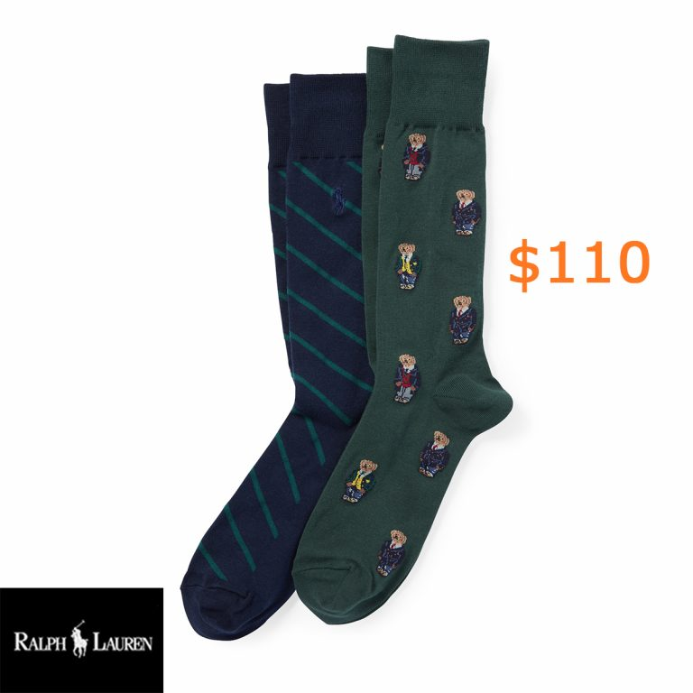 110Preppy Bear Sock 2-Pack