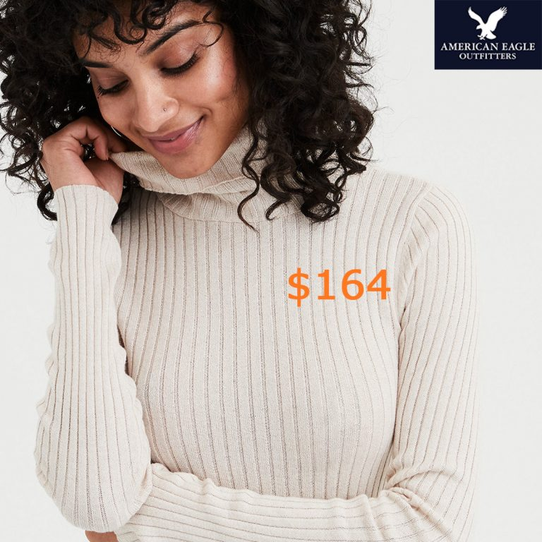 164AE Bodycon Rib Turtleneck Pullover