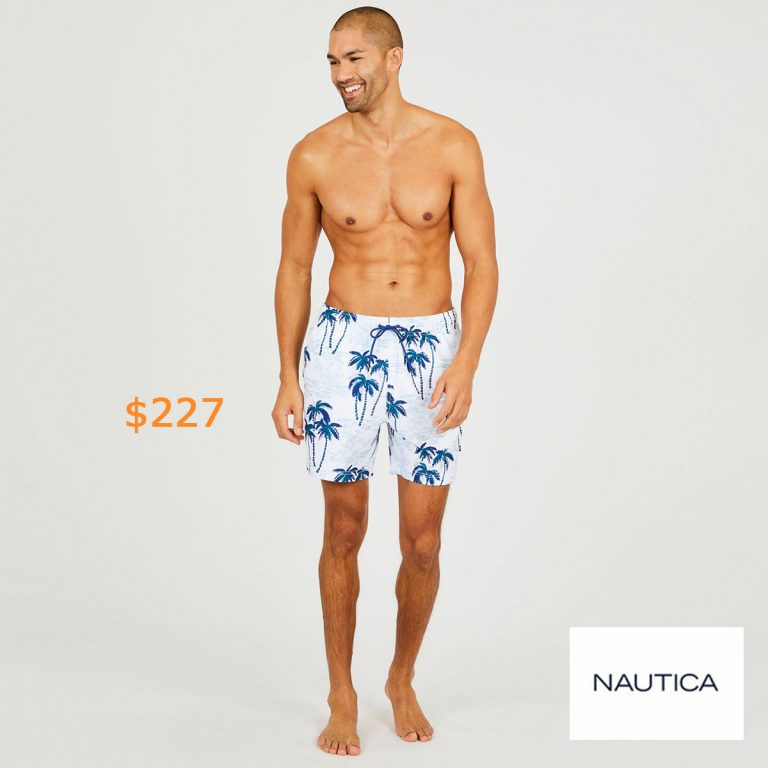 227Palm Tree Full-Elastic Swim Shorts