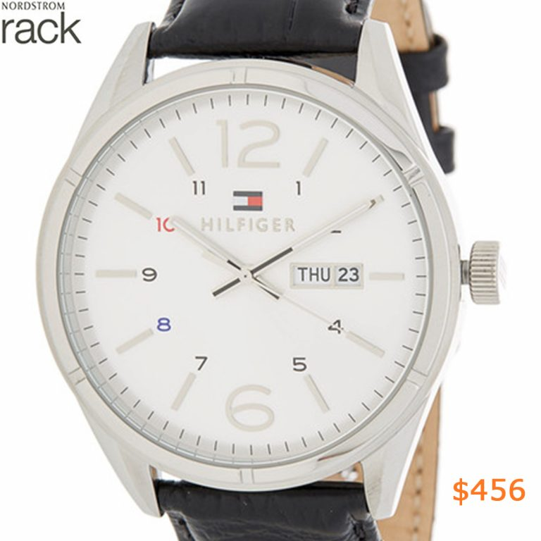 456Tommy Hilfiger - Men's Croc Embossed Leather Strap Watch